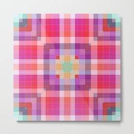 Bright Pink Geometric Metal Print