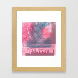 Town and the storm, pink, gray, blue Framed Art Print