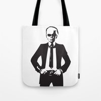 karl lagerfeld Tote Bags featuring Karl Lagerfeld by Joanna Theresa Heart