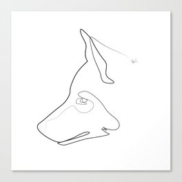 one line Totem: wolf Canvas Print