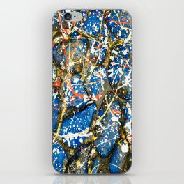 Blue Paint Drip Pollock Stones iPhone Skin