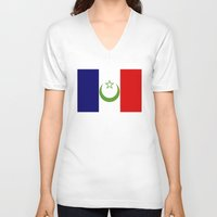 morocco V-neck T-shirts featuring French Morocco flag by tony tudor