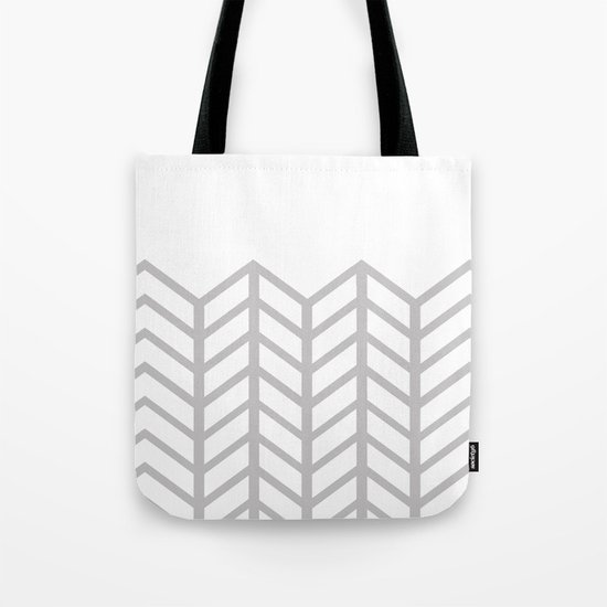 GRAY & WHITE LACE CHEVRON Tote Bag
