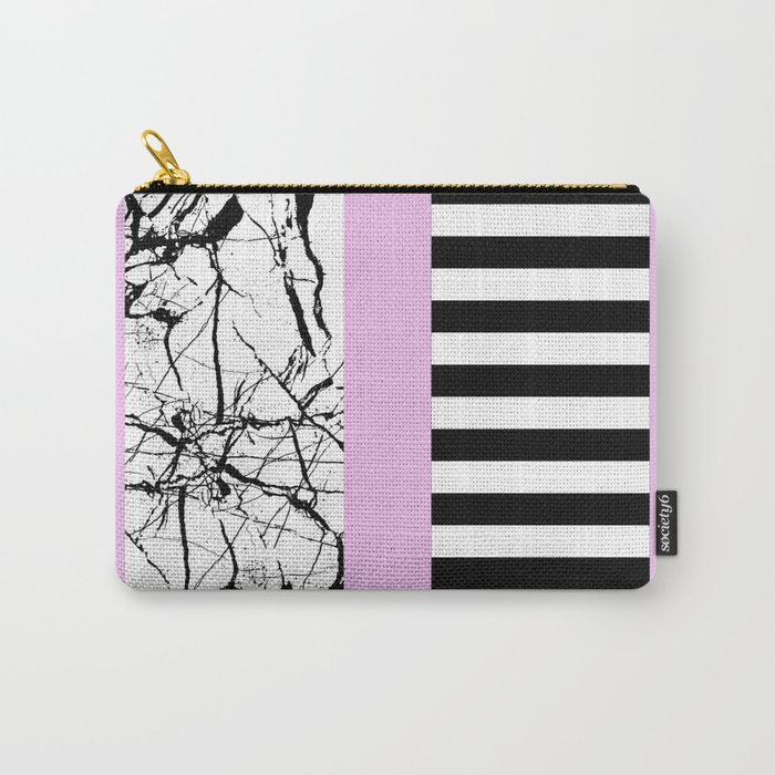 Stripes N Marble 2 - Black and white stripes and marble patterns on a pastel pink background Carry-All Pouch