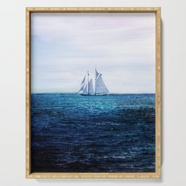 Sailing Ship on the Sea Serving Tray