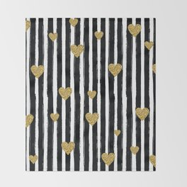 Gold Glitter Hearts Black and White Stripes Throw Blanket