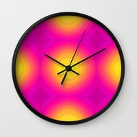 70s Wall Clocks featuring Flashy 70s,pink by MehrFarbeimLeben