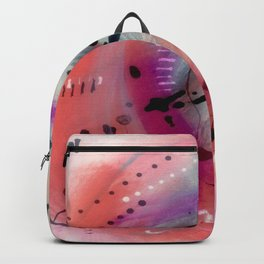 Alex - a bright acrylic and ink abstract pattern in pinks, blues, and purple Backpack
