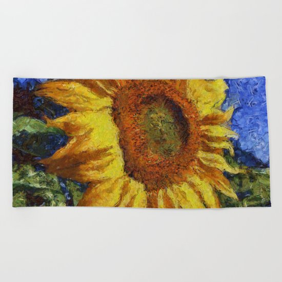 Sunflower In Van Gogh Style Beach Towel