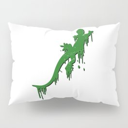 Distressed Green Salamander With Paint Drip Pillow Sham