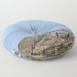 Tall ship Sailing by the point Floor Pillow