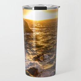 In Waves - Waves Crashing Into Rocks at Sunset In Big Sur Travel Mug