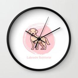 Labrador Retriever dog cartoon in pink circle Wall Clock