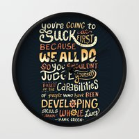 risa rodil Wall Clocks featuring Don't Be Afraid To Suck by Risa Rodil