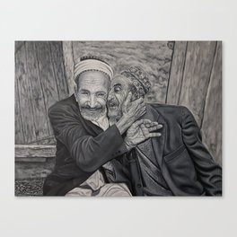 Old men friends and brothers for ever black and whit oil painting Canvas Print