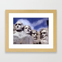 Mount Rushmore in Triangles Framed Art Print