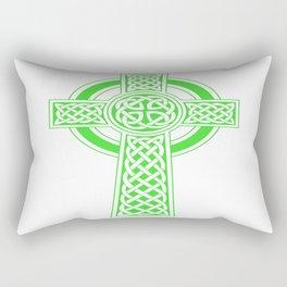 St Patrick's Day Celtic Cross Green and White Rectangular Pillow