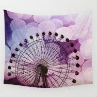 ferris wheel Wall Tapestries featuring Purple Ferris Wheel by Sylvia C