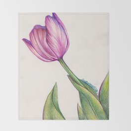 Purple Tulip in Colored Pencil Throw Blanket