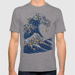 The Great Wave of Pugs Vanilla Sky T-shirt