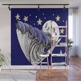Zentangle Blue Waves by Moonlight Wall Mural