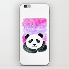 Lazy Panda in Pink & Purple Watercolor with doodles  iPhone & iPod Skin