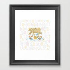 Honey Flower Bear Framed Art Print