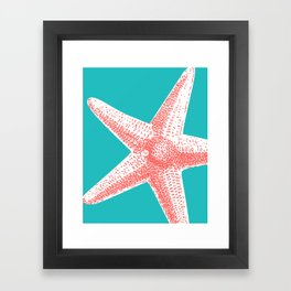 Starfish in Teal/Coral Framed Art Print