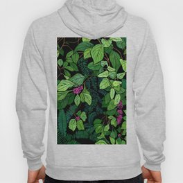 Green and Purple Beautyberry Illustration Hoody