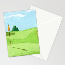 Golf Course Putting Green Watercolor Painting Stationery Cards