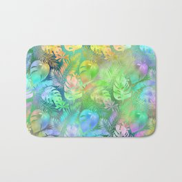 Iridescent Tropical Leaves in Aquas, Greens and Yellows Bath Mat
