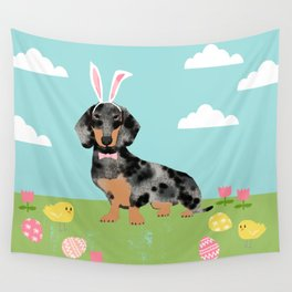 Dachshund dog breed easter pet portrait dog breed gifts pure breed dachsie doxie dapple Wall Tapestry