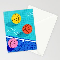 All Day - basketball sports memphis retro throwback neon trendy colors athletic art design Stationery Cards