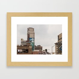 Detroit Music hall and Book Tower Framed Art Print