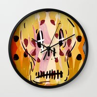 grim fandango Wall Clocks featuring Grim by Jamie Bryan