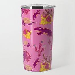 Desert Animals in Pink with Yellow Armadillo Travel Mug