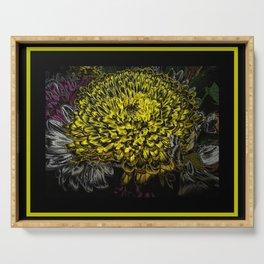 Black yellow art Serving Tray
