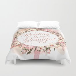 Reading is Beautiful floral wreath Duvet Cover