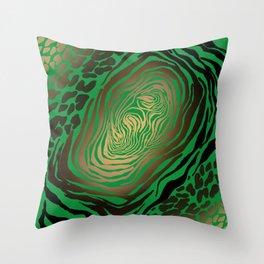 Trendy Golden and green zebra print  Throw Pillow
