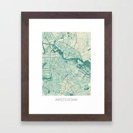 Amsterdam Map Blue Vintage Framed Art Print
