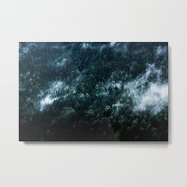 Foggy Forest Mountain Metal Print