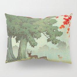 Vintage Japanese Woodblock Print Nara Park Deers Green Trees Red Japanese Maple Tree Pillow Sham