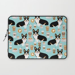 Welsh Corgi tri colored coffee lover dog gifts for corgis cafe latte pupuccino Laptop Sleeve