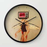 tina crespo Wall Clocks featuring Tina Television by Marko Köppe