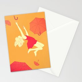 Flying umbrellas Stationery Cards