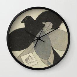 Japanese Bird Woodblock by Totoya Hokkei, 1828 Wall Clock