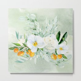 White Orchid Series: Orchid and Kumkwat Metal Print