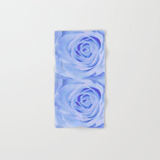Blue Watercolor Rose Hand & Bath Towel