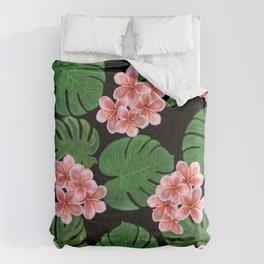 Tropical Floral Print Black Comforters