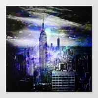 new york skyline Canvas Prints featuring New York Skyline by haroulita